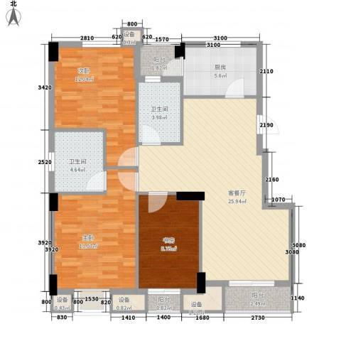 天合家园3室1厅2卫1厨117.00㎡户型图