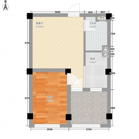 华庭广场1室1厅1卫1厨50.00㎡户型图