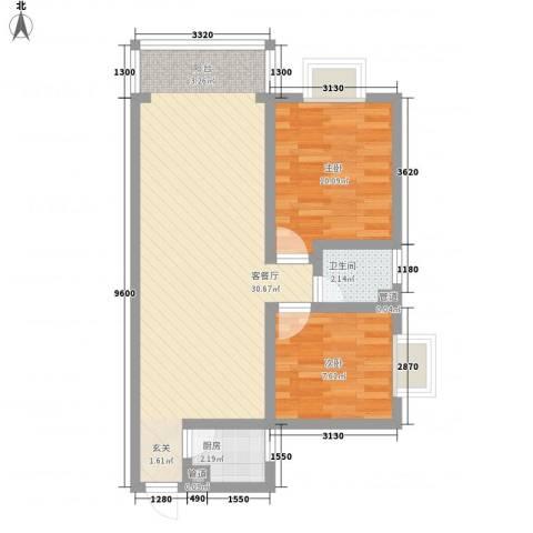 凤凰山庄三期2室1厅1卫1厨77.00㎡户型图