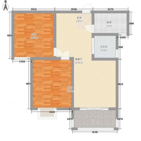 众兴・嘉城2室1厅1卫1厨77.96㎡户型图