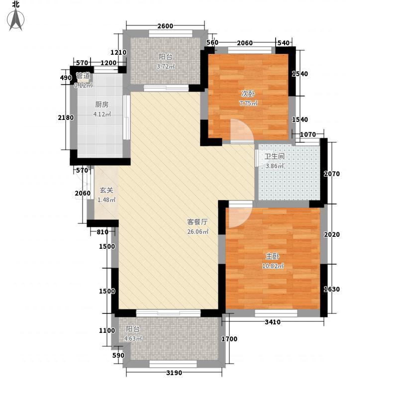 紫金伴山89.00㎡紫金伴山户型图H6户型2室2厅1卫户型2室2厅1卫