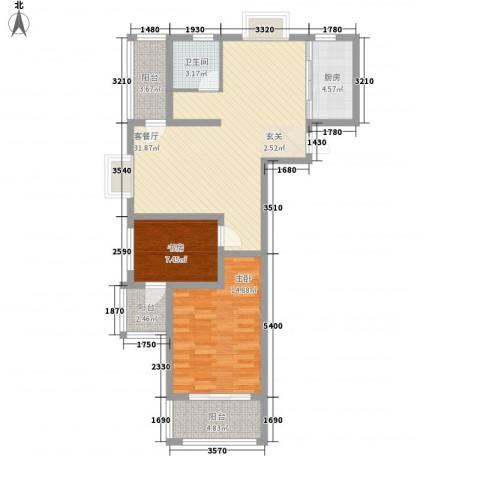 众兴・嘉城2室1厅1卫1厨72.91㎡户型图