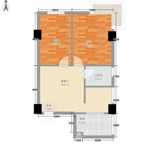 芝兰新城2室1厅1卫1厨74.00㎡户型图
