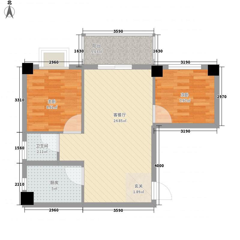 芝兰新城76.80㎡户型2室2厅1卫1厨