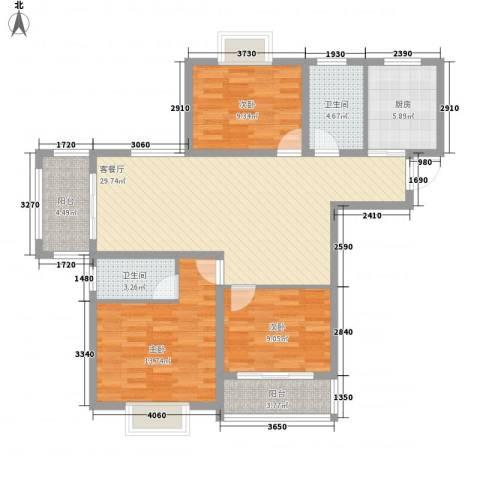 奥体清华苑3室1厅2卫1厨121.00㎡户型图