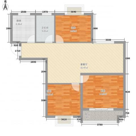 奥体清华苑3室1厅1卫1厨115.00㎡户型图