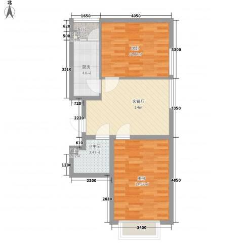 和畅园2室1厅1卫1厨72.00㎡户型图