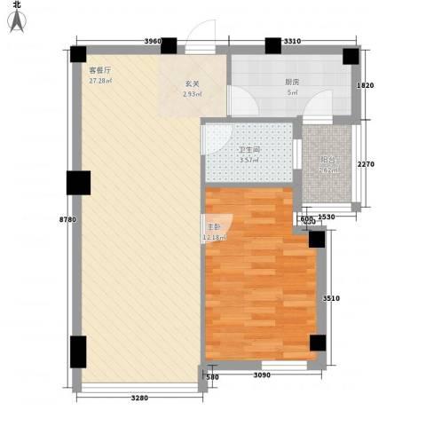 书香门第1室1厅1卫1厨59.00㎡户型图