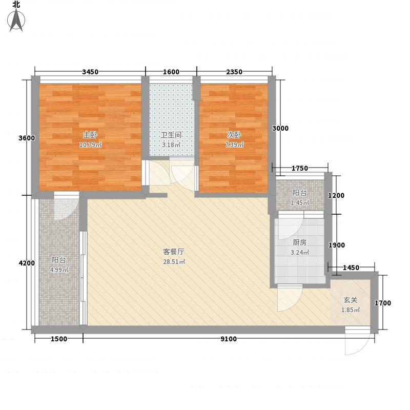 英郡年华一期户型图2栋B、G户型 2室2厅1卫