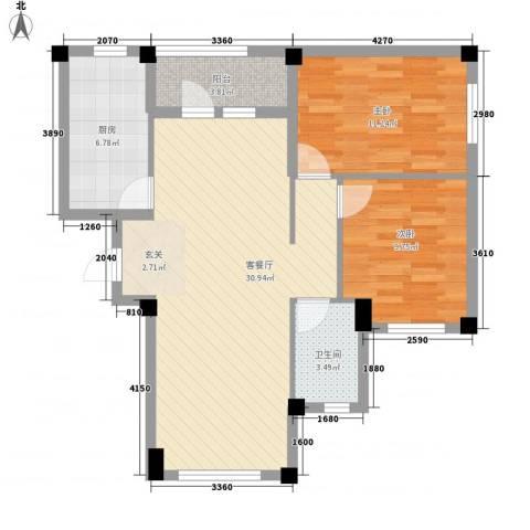书香门第2室1厅1卫1厨84.00㎡户型图