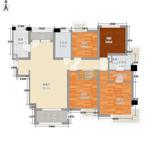 宝华海湾城4室1厅2卫1厨133.00㎡户型图