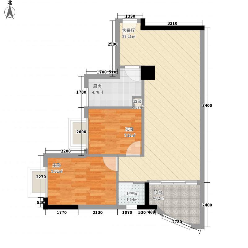 颐和山庄81.00㎡经典户型2室2厅1卫1厨