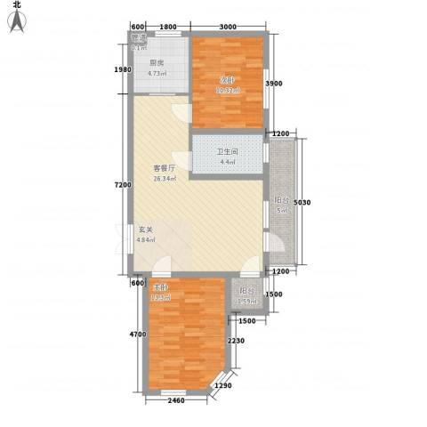 嘉宝华庭 嘉华园2室1厅1卫1厨87.00㎡户型图