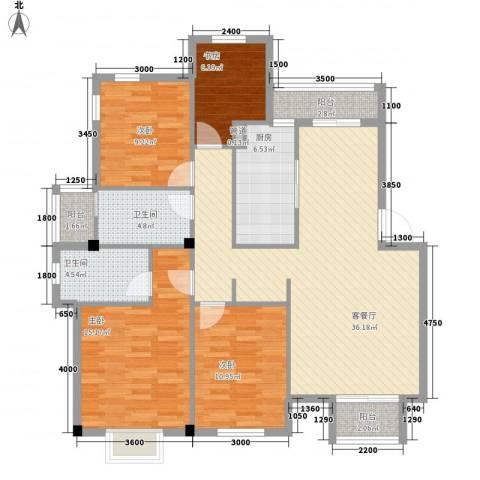 龙湾银都4室1厅2卫1厨141.00㎡户型图