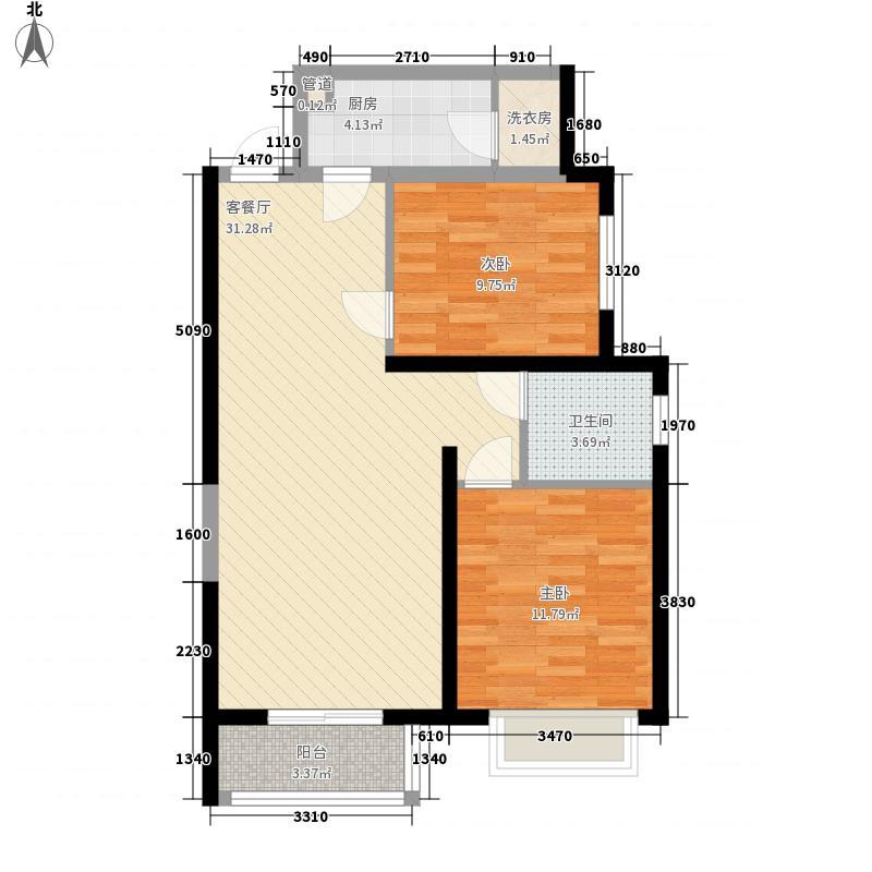 凌云名苑92.93㎡B户型2室2厅1卫1厨