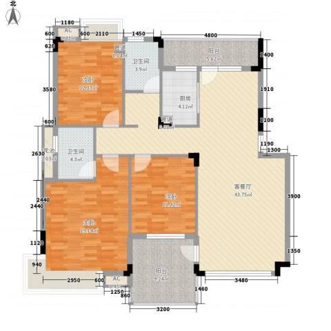 恒瑞蓝湾印象3室1厅2卫1厨128.00㎡户型图