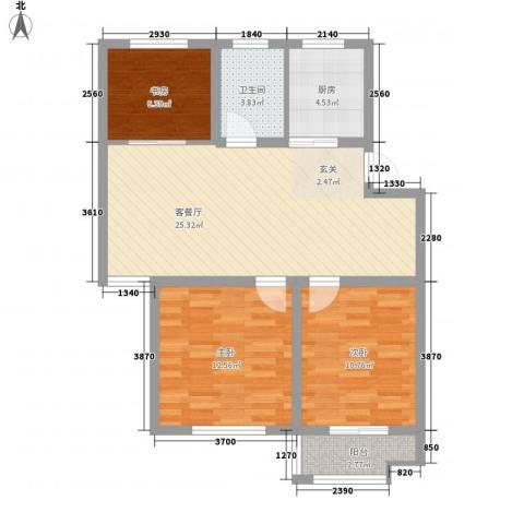 万厦・四季华廷3室1厅1卫1厨95.00㎡户型图