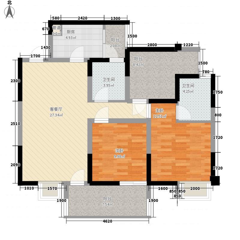 北湖龙郡97.43㎡1号楼A5型偶数层户型2室2厅2卫1厨