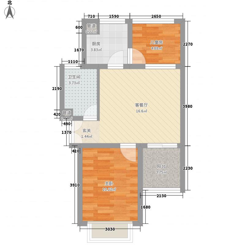 月澜锦程64.00㎡一期高层A户型2室1厅1卫1厨