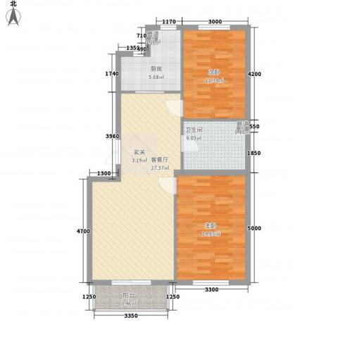 嘉宝华庭 嘉华园2室1厅1卫1厨91.00㎡户型图