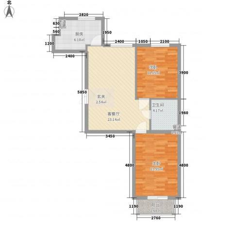 嘉宝华庭 嘉华园2室1厅1卫1厨83.00㎡户型图
