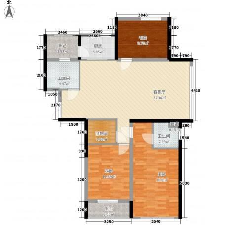 嘉联华铭座公寓3室1厅2卫1厨140.00㎡户型图