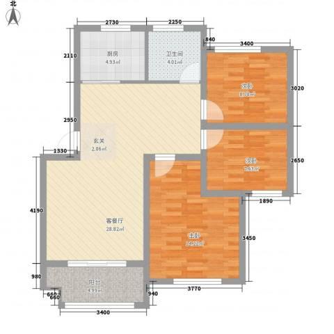 万厦・四季华廷3室1厅1卫1厨105.00㎡户型图