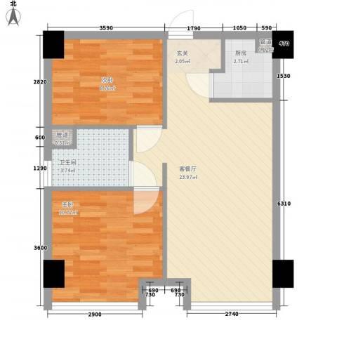 又一村2室1厅1卫1厨72.00㎡户型图