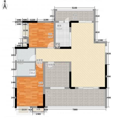 南坪苑2室0厅2卫1厨156.00㎡户型图