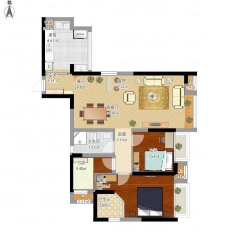 中铁城锦南汇3室1厅2卫1厨110.00㎡户型图