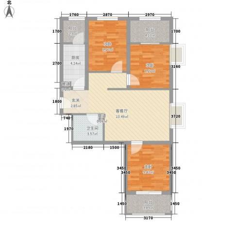 坤泽-翰林华府3室1厅1卫1厨99.00㎡户型图