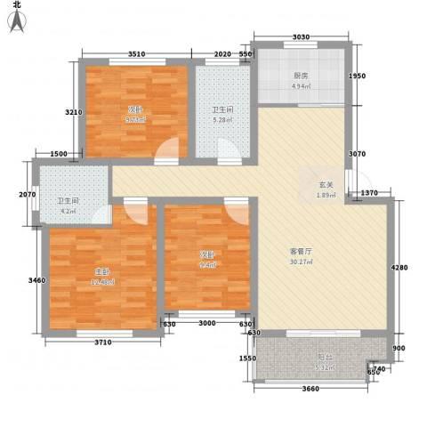 万厦・四季华廷3室1厅2卫1厨118.00㎡户型图