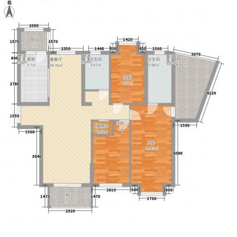 拉德芳斯3室1厅2卫1厨136.00㎡户型图