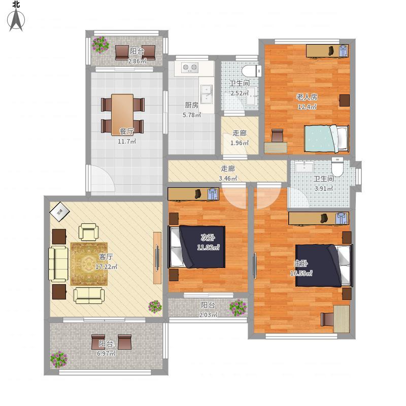 汉化阳光城三室一厅