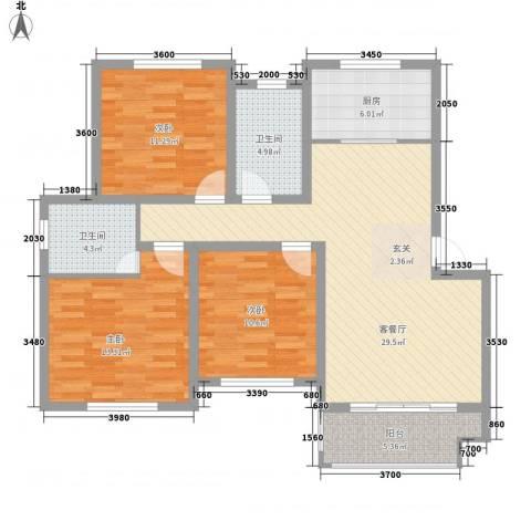 万厦・四季华廷3室1厅2卫1厨122.00㎡户型图