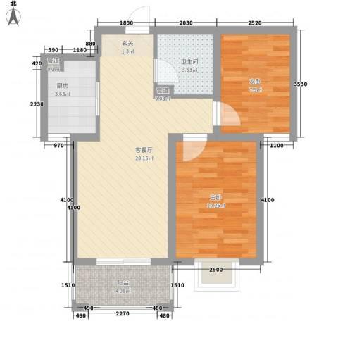 坤泽-翰林华府2室1厅1卫1厨72.00㎡户型图