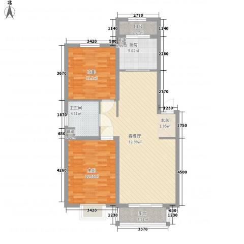 又一村2室1厅1卫1厨103.00㎡户型图
