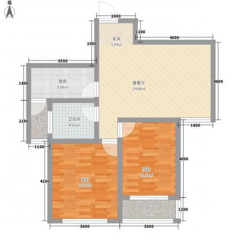 和谐家园2室1厅1卫1厨89.00㎡户型图