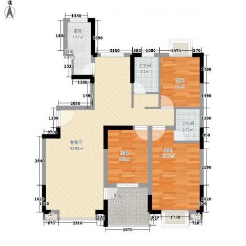 振业山水名城3室1厅2卫1厨88.00㎡户型图