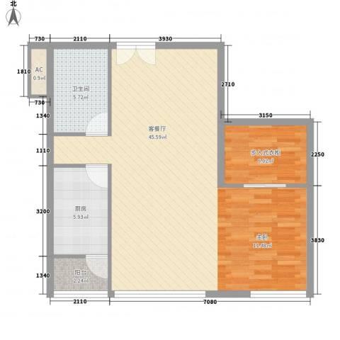 北京财富中心二期1厅1卫1厨91.00㎡户型图