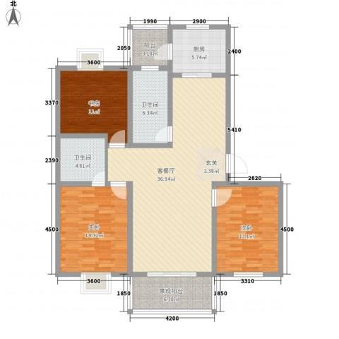 藤花园3室1厅2卫1厨131.00㎡户型图