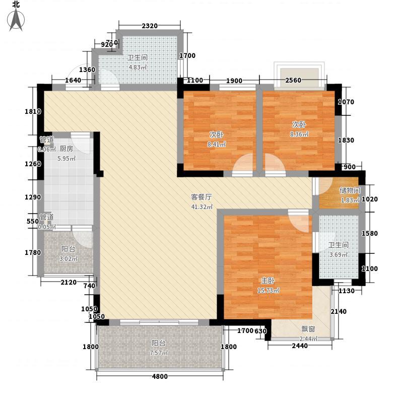 枫景雅居户型图G4型 3室2厅2卫1厨