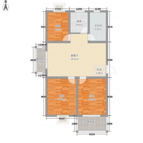 藤花园3室1厅1卫1厨113.00㎡户型图