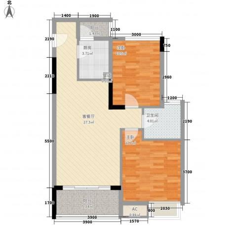 长城世家二期2室1厅1卫1厨77.00㎡户型图