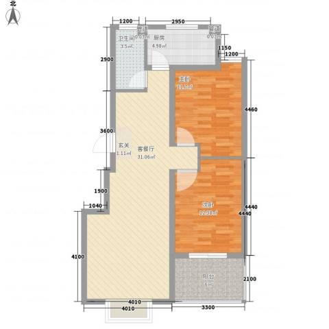 东方御景2室1厅1卫1厨93.00㎡户型图