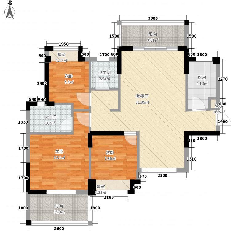 大儒世家绿园6.00㎡15#E1户型3室2厅2卫1厨