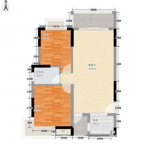 长城世家二期2室1厅1卫1厨80.00㎡户型图