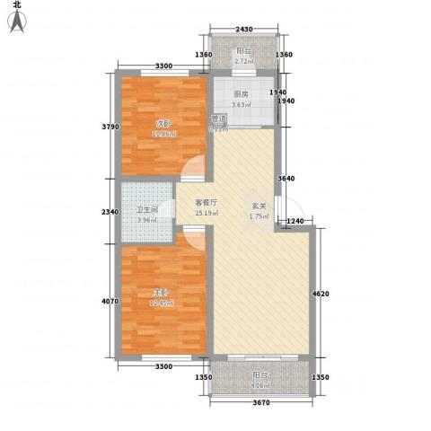 澜山溪谷2室1厅1卫1厨86.00㎡户型图