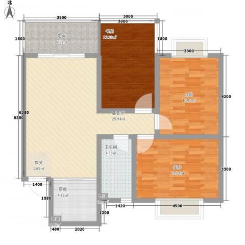 东方御景3室1厅1卫1厨113.00㎡户型图