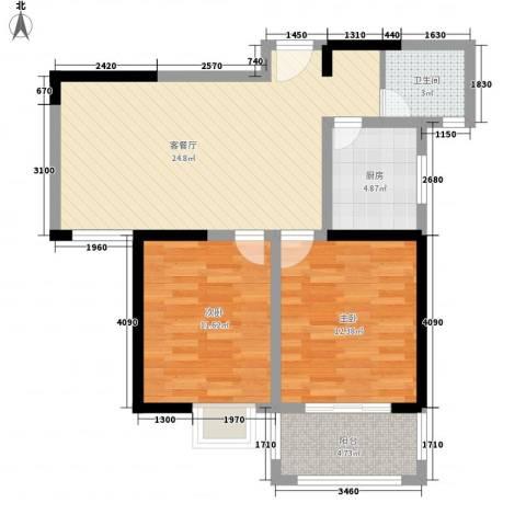 都市桃源2室1厅1卫1厨89.00㎡户型图